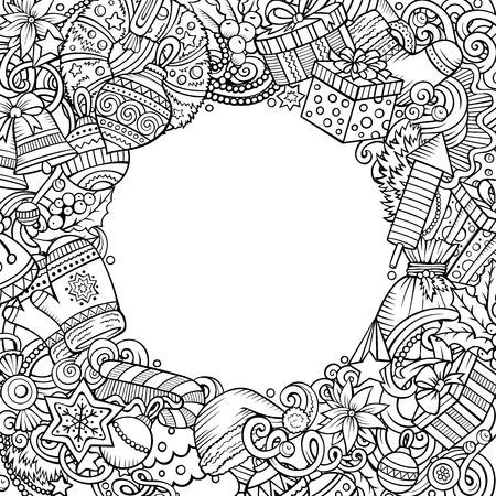 Cartoon vector doodles New Year illustration