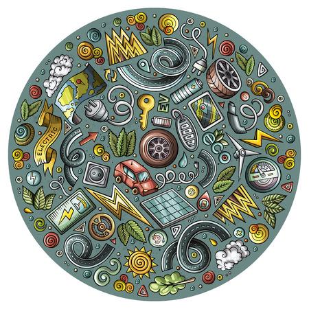 電気自動車漫画落書きオブジェクトのカラフルなベクトルセット  イラスト・ベクター素材