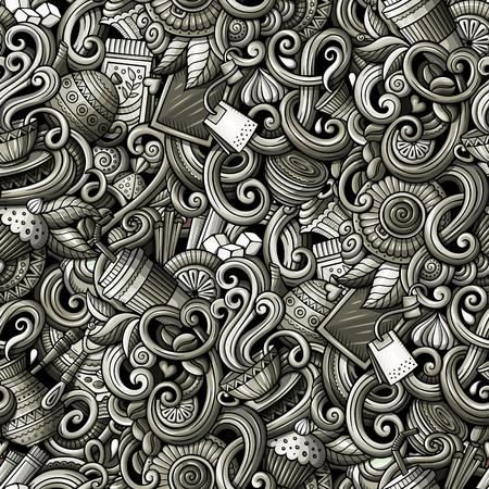 Cartoon hand-drawn doodles of cafe, coffee shop seamless pattern Иллюстрация