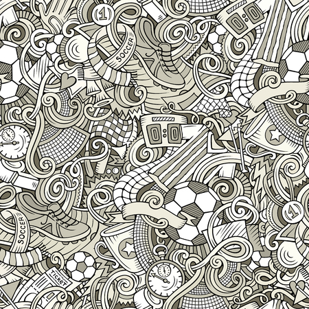 Cartoon cute doodles hand drawn Soccer seamless pattern 向量圖像