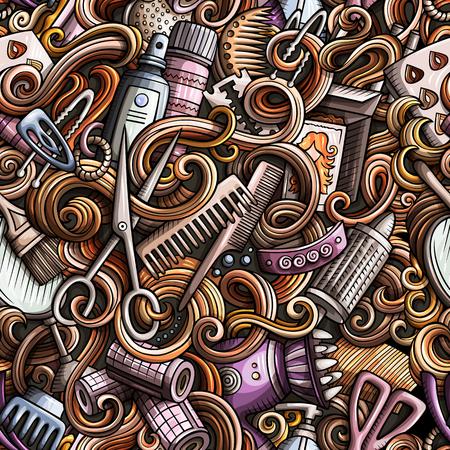 Cartoon doodles hand drawn Hair salon seamless pattern