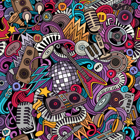 Cartoon cute doodles Disco music seamless pattern Çizim