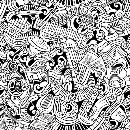 Cartone animato carino scarabocchi musica classica senza motivo Archivio Fotografico - 90463929