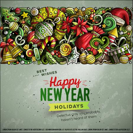 Cartoon vector doodles Merry Christmas horizontal stripe card design