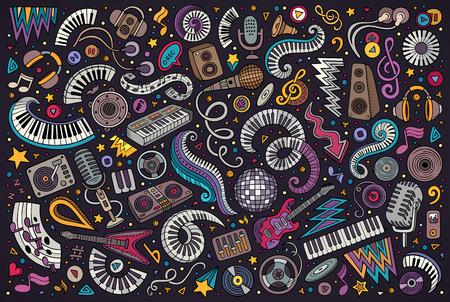ディスコ音楽オブジェクトのカラフルなベクトル落書き漫画セット