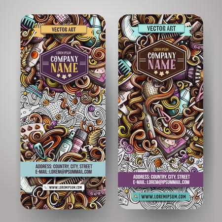 Cartoon colorful vector hand drawn doodles hair salon banners design Illustration