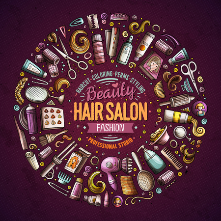 Vector set of Hair salon cartoon doodle objects