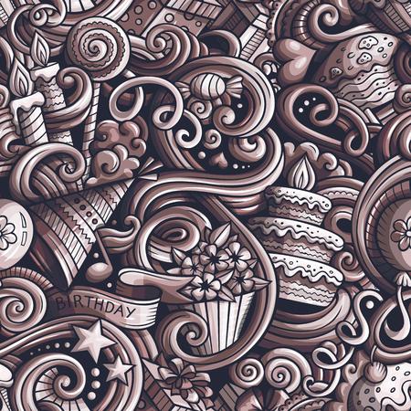 Cartoon cute doodles hand drawn Holidays seamless pattern