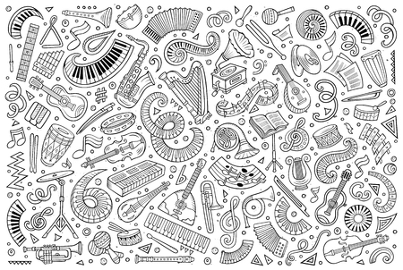 Vector doodles cartoon set of classical musical instruments objects
