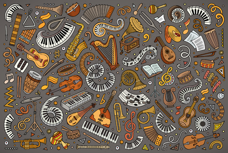 Colorful vector doodles cartoon set of classical musical instruments objects