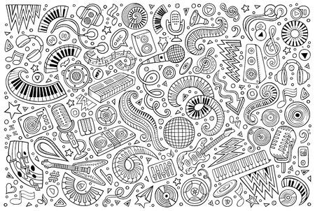 Line art vector doodles cartoon set of disco music objects Ilustrace
