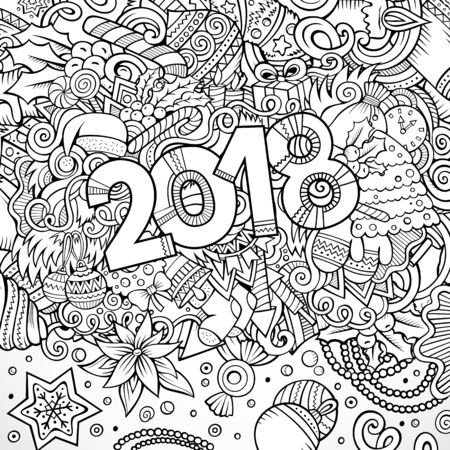 Cartoon vector cute doodles hand drawn 2018 year illustration