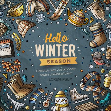 Cartoon Vektor Kritzeleien Winter Objekte Rahmen Karte Design Standard-Bild - 90463975