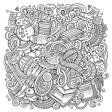 漫画ベクトル落書き冬のイラスト 写真素材 - 90463977