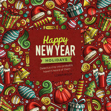 Cartoon vector doodles Merry Christmas and New Year objects frame card design. Colorful detailed, with lots of objects illustration. Bright colors holidays funny border Illustration