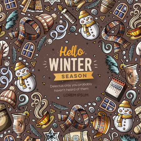 Cartoon vector doodles Winter objects frame card design Reklamní fotografie - 90463984