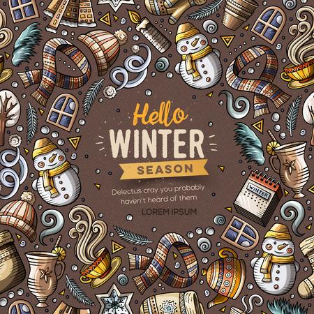 Cartoon vector doodles Winter objects frame card design
