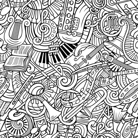 Cartoon cute doodles Classical music seamless pattern Illustration