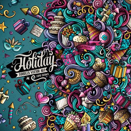 Cartoon hand-drawn doodles holidays illustration Illustration