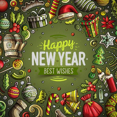Cartoon vector doodles Merry Christmas and New Year card design