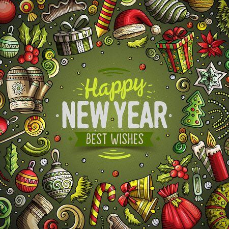Cartoon vector doodles Vrolijk Kerstmis en Nieuwjaar kaart ontwerp