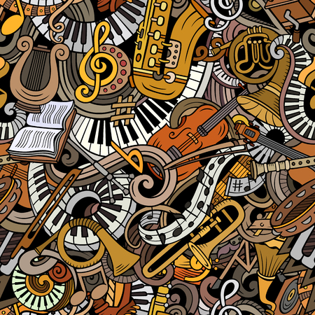 Cartoon cute doodles Classical music seamless pattern 스톡 콘텐츠