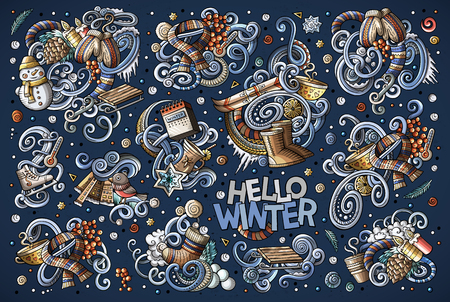 Cartoon set of Winter season doodles designs Ilustrace