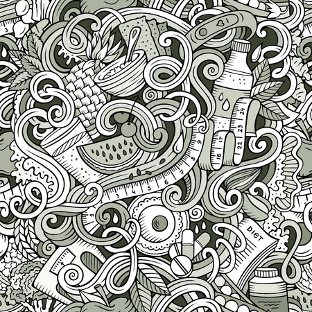 Cartoon cute doodles hand drawn Diet food seamless pattern Stock Vector - 90850533