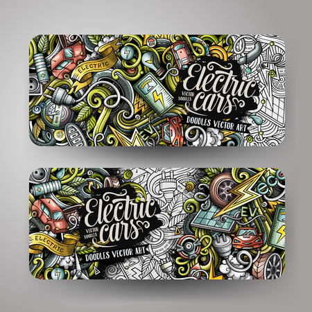 Cartoon doodles electric cars banners