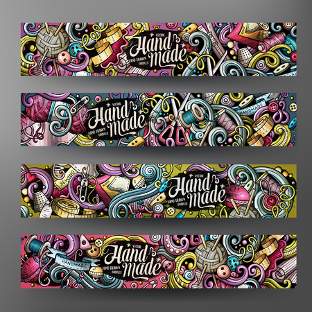 Cartoon colorful vector hand drawn doodles handmade 2 Horizontal banners Illustration