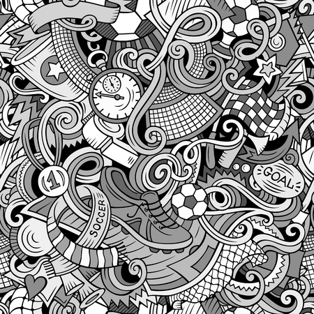 Cartoon cute doodles hand drawn Soccer seamless pattern Illusztráció