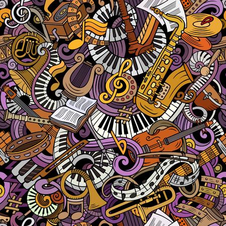 Cartone animato carino scarabocchi musica classica senza motivo Archivio Fotografico - 90850544