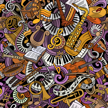Cartoon cute doodles Classical music seamless pattern Illusztráció