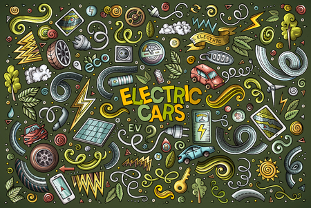 Colorful vector doodle cartoon set of Electric cars objects