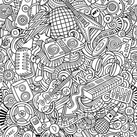 귀여운 낙서 디스코 음악 원활한 패턴 일러스트