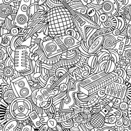 Cute doodles Disco music seamless pattern