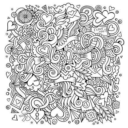 ベクトル手描きのラブ落書き。スケッチデザインの背景  イラスト・ベクター素材