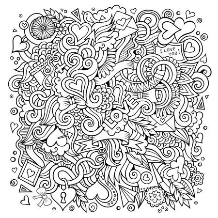 Vector hand-drawn Love Doodles. Sketchy design background