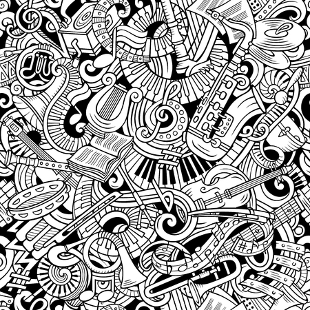 Cute doodles Classical music seamless pattern