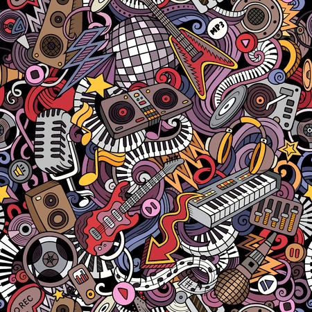 漫画かわいい落書きディスコ音楽シームレスなパターン