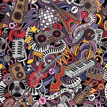 Cartoon cute doodles Disco music seamless pattern Ilustrace