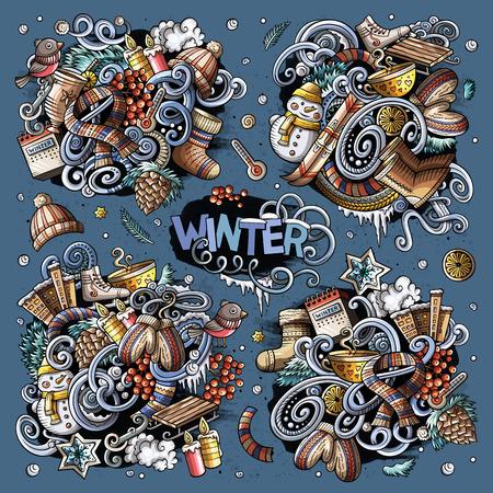 Cartoon set of Winter season doodles designs Reklamní fotografie - 90850843