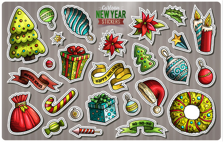 Set of Happy New Year cartoon stickers