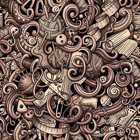 Cartoon schattig doodles hand getekende handgemaakte naadloze patroon. Zwart-wit gedetailleerd, met veel objecten achtergrond. Eindeloze grappige vectorillustratie met handgemaakte symbolen en items Stock Illustratie
