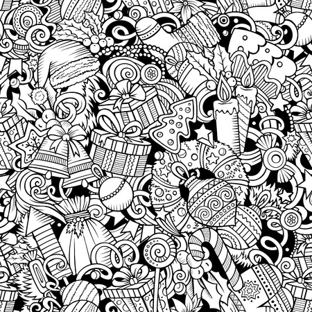 Cartoon cute doodles New Year seamless pattern. Line art background. All objects separate. Backdrop with Christmas symbols and items