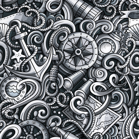 Cartoon cute doodles hand drawn Nautical seamless pattern. Monochrome detailed, with lots of objects background. Endless funny vector illustration with Marine symbols and items Ilustração