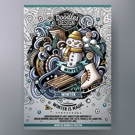 Cartoon hand drawn doodles Winter poster design template. Very detailed, with lots of separate objects illustration. Funny vector artwork.