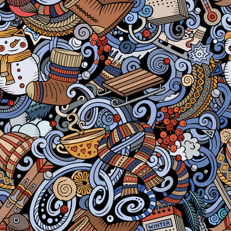 Cartoon cute doodles Winter season seamless pattern. All objects separate. Colorful detailed, with lots of objects background. Endless vector illustration.