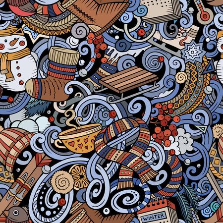 Cartoon schattig doodles Winter seizoen naadloos patroon. Alle objecten scheiden. Kleurrijk gedetailleerd, met veel objecten achtergrond. Eindeloze vectorillustratie.