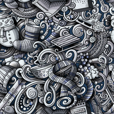 Cartoon cute doodles Winter season seamless pattern. Monochrome detailed, with lots of objects background. All objects separate. Backdrop with seasonal symbols and items Illustration